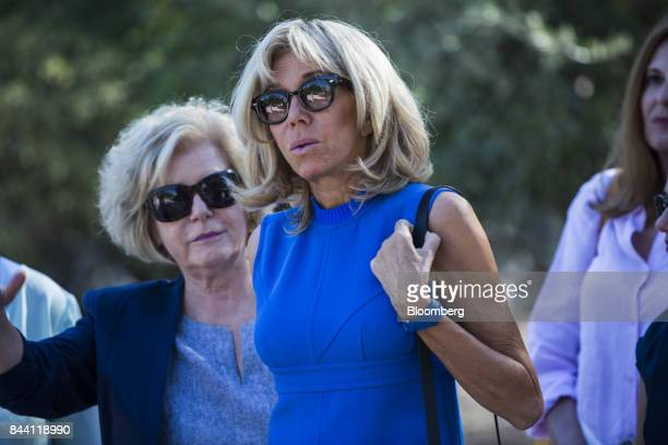 Brigitte Macron France's first lady center visits the ancient Agora site during a visit to Athens Greece on Friday Sept 8 2017 French President...