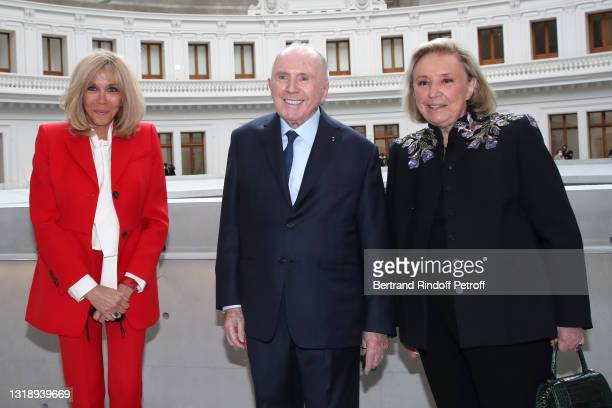 """Brigitte Macron, François Pinault and Maryvonne Pinault attend the """"Bourse de Commerce - Pinault Collection, Modern Art Foundation"""" Opening Night on..."""
