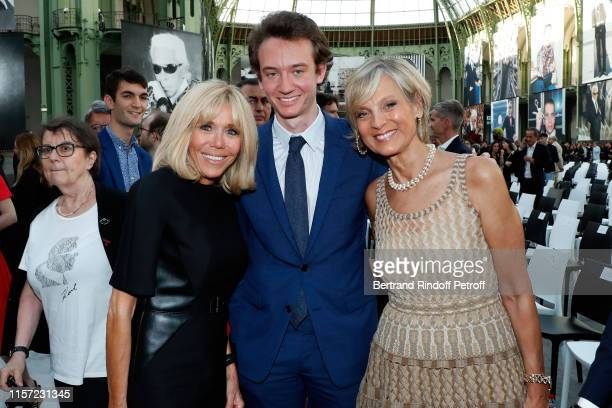 Brigitte Macron Frederic Arnault and Helene Arnault attend Karl for Ever Tribute to Karl Lagerfeld at Grand Palais on June 20 2019 in Paris France