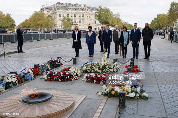 Brigitte Macron , French Culture Minister Roselyne Bachelot , French President Emmanuel Macron , Paris Mayor and Socialist Party candidate for the...