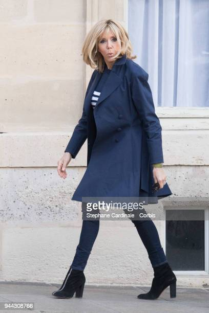 Brigitte Macron is seen at the Elysee Presidential Palace during the visit of King Mohammed VI at Elysee Palace on April 10 2018 in Paris France King...
