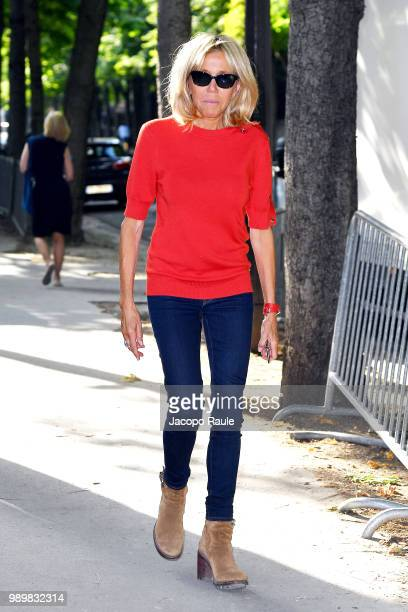 Brigitte Macron is seen at the Giambattista Valli Haute Couture Fall Winter 2018/2019 Show on July 2 2018 in Paris France