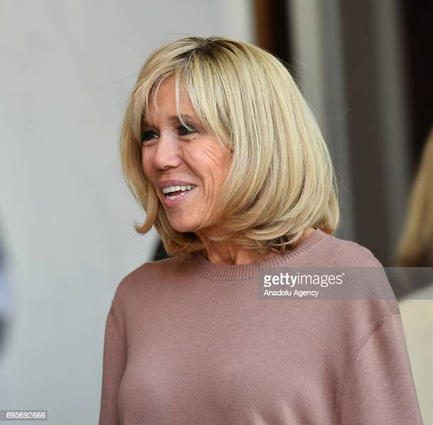Brigitte Macron is seen before a meeting of French President Emmanuel Macron and British Prime Minister Theresa May at the Elysee Palace in Paris...