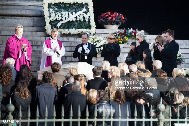 Brigitte Macron Jade Hallyday Laetitia Hallyday Joy Hallyday Laura Smet and David Hallyday during Johnny Hallyday's Funeral Procession at Eglise De...