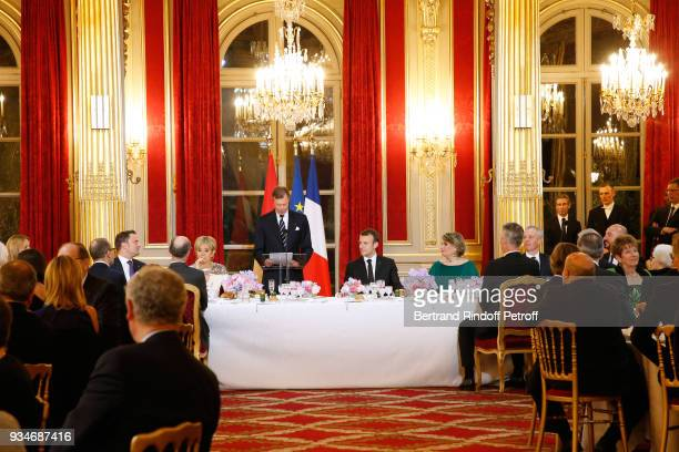 Brigitte Macron, LL.AA.RR. Grand-Duc Henri of Luxembourg, French President Emmanuel Macron and Grande-Duchesse Maria Teresa of Luxembourg attend the...