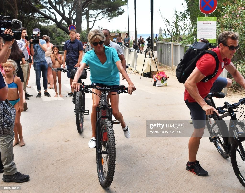 Brigitte Macron The Wife Of The French President Rides An Electric News Photo Getty Images