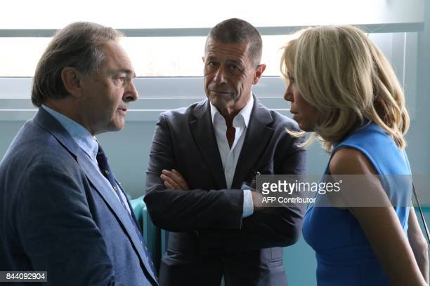 Brigitte Macron the wife of the French president speaks to French professor Gilles Kepel and French author and director Emannuel Carrere during a...