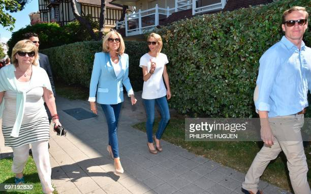 Brigitte Macron wife of French President Emmanuel Macron and her daughter Tiphaine Auziere walk in a street of the city of Le Touquet northern France...