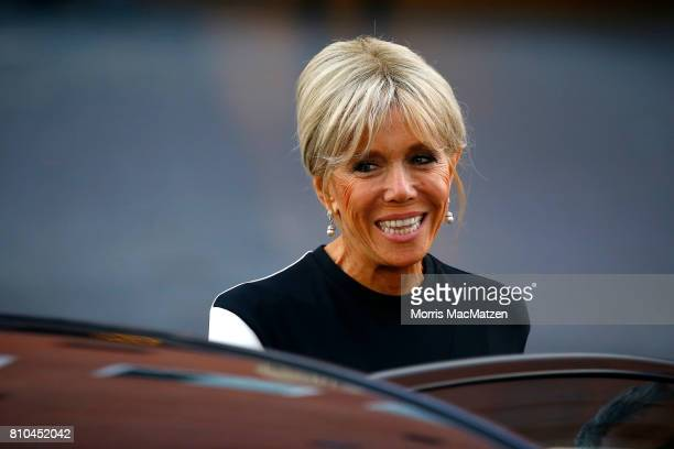Brigitte Macron wife of French President Emmanuel Macron arrives to attend a concert at the Elbphilharmonie philharmonic concert hall on the first...