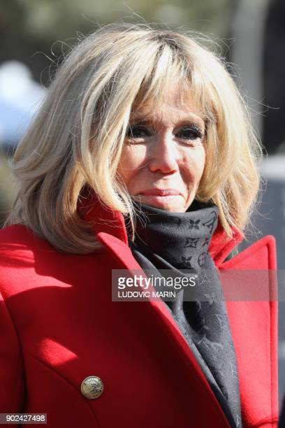 Brigitte Macron wife of French President Emmanuel Macron is pictured as the couple is given a tour during a visit to the Great Mosque of Xian in the...