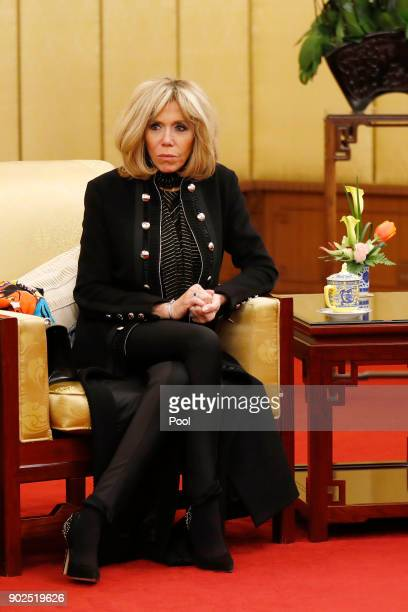 Brigitte Macron wife of French President Emmanuel Macron looks during a meeting of Macron with Chinese President Xi Jinping at the Diaoyutai State...