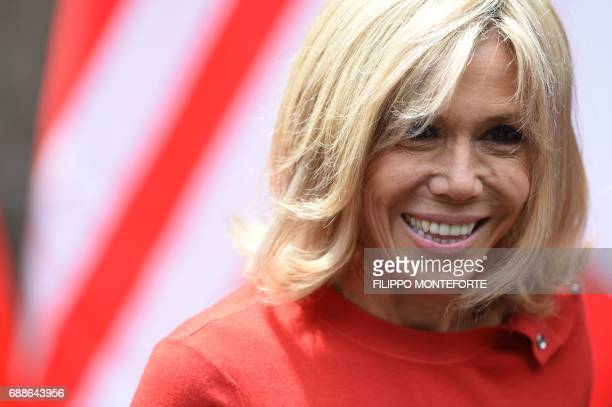 Brigitte Macron wife of French President leaves the Hotel San Domenico for an official visit in Catania on the sidelines of the Heads of State and of...