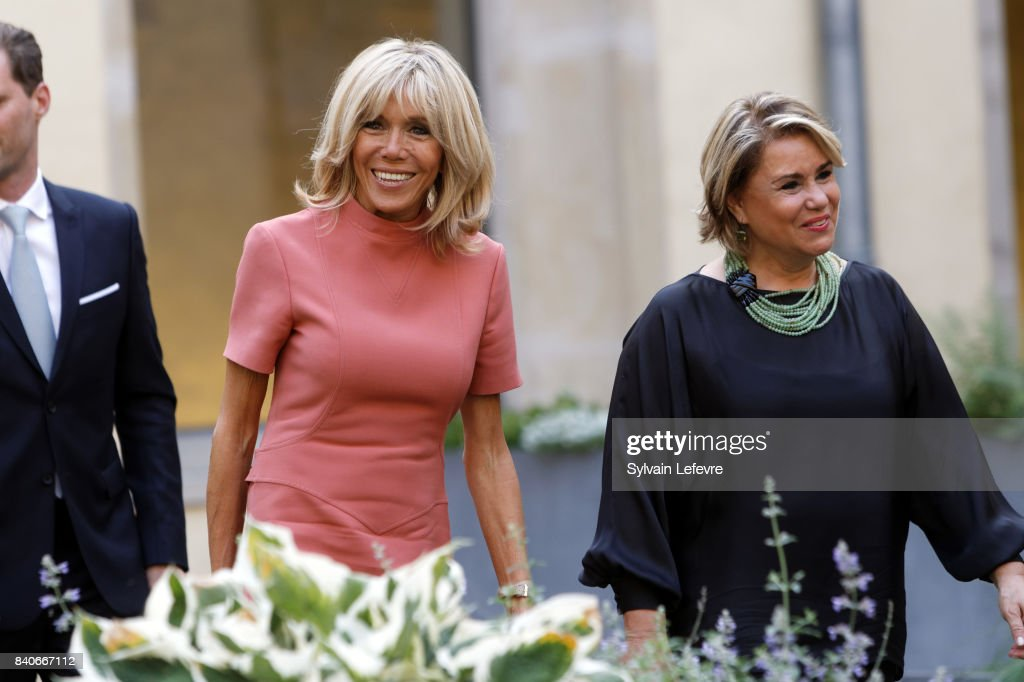 Brigitte Macron-Trogneux, France's first lady, Grand Duchess Maria Teresa of Luxembourg visit Luxembourg's Neumunster Abbey during a one day state visit on August 29, 2017 in Luxembourg, Luxembourg.
