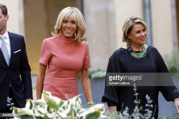 Brigitte MacronTrogneux France's first lady Grand Duchess Maria Teresa of Luxembourg visit Luxembourg's Neumunster Abbey during a one day state visit...