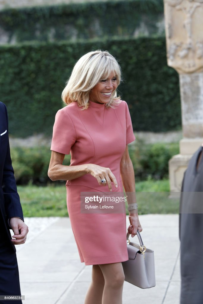 French President Emmanuel Macron And Wife Brigitte Trogneux On A One Day State Visit in Luxembourg : News Photo