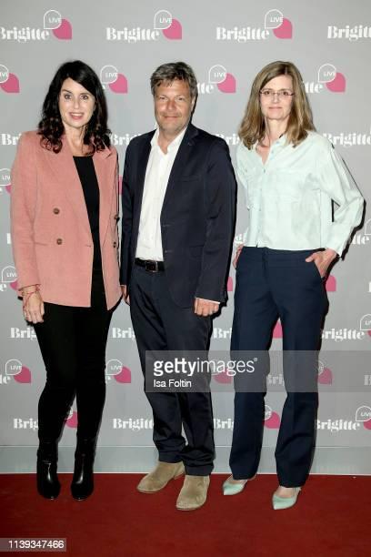 Brigitte magazine chief editor Brigitte Huber, German politician Robert Habeck and author Meike Dinklage during the Brigitte Live conversation with...