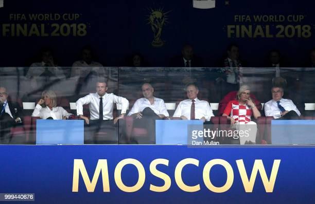 Brigitte Marcon French President Emmanuel Macron FIFA president Gianni Infantino President of Russia Vladimir Putin and Croatia's President Kolinda...