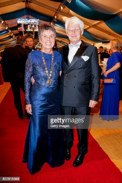 Brigitte MerkErbe and her husabnd Thomas Erbe during the Bayreuth Festival 2017 State Reception at Neues Schloss on July 25 2017 in Bayreuth Germany
