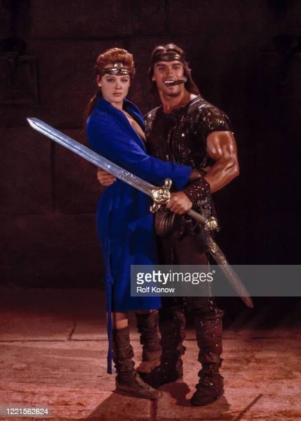 "Brigitte Nielsen and Arnold Schwarzenegger in ""Red Sonja"", directed by Richard Fleischer, Rome, Italy, 1984"