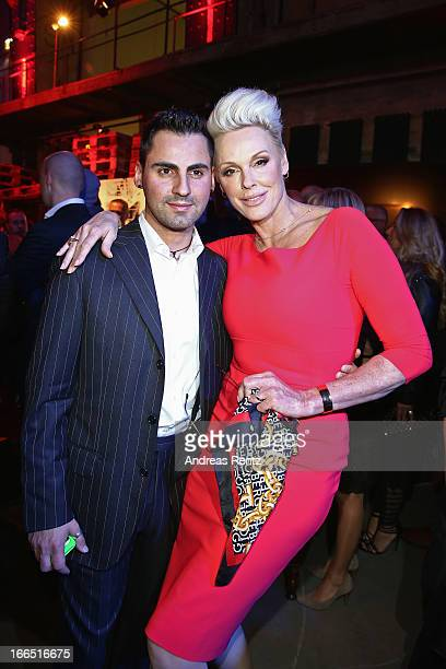 Brigitte Nielsen and her husband Mattia Dessi attend the Jaguar FType short film 'The Key' Premiere at eWerk on April 13 2013 in Berlin Germany