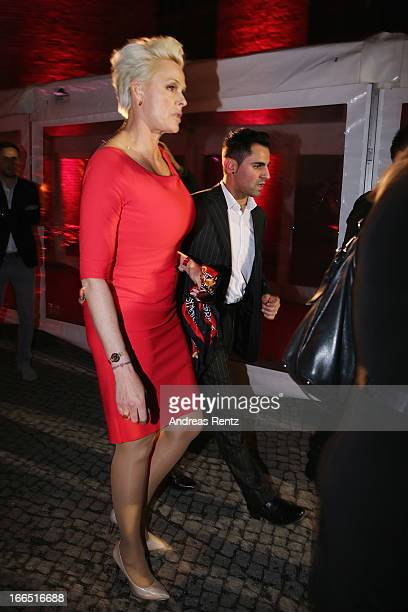 Brigitte Nielsen and her husband Mattia Dessi leave the Jaguar F-Type short film 'The Key' Premiere at e-Werk on April 13, 2013 in Berlin, Germany.