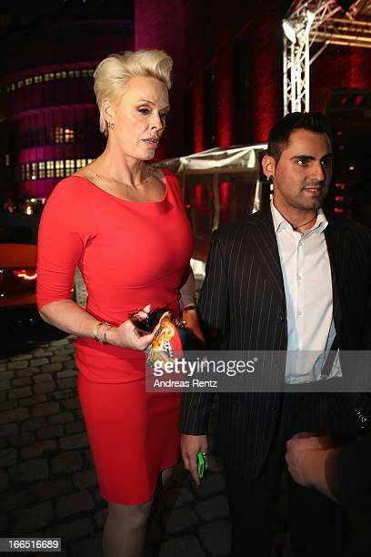Brigitte Nielsen and her husband Mattia Dessi leave the Jaguar F-Type short film 'The Key' Premiere at e-Werk on April 13, 2013 in Berlin, Germany.