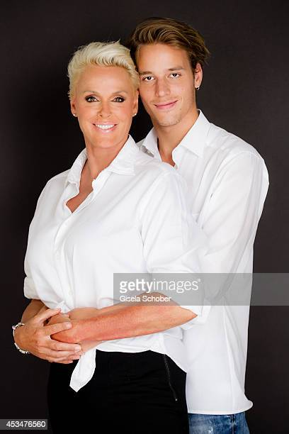 Brigitte Nielsen and her son Douglas Aaron Meyer pose during a portrait session on July 6 2014 in Milan Italy