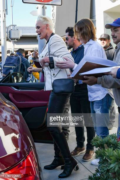 Brigitte Nielsen and her son Raoul Meyer Jr are seen on February 22 2019 in Los Angeles California