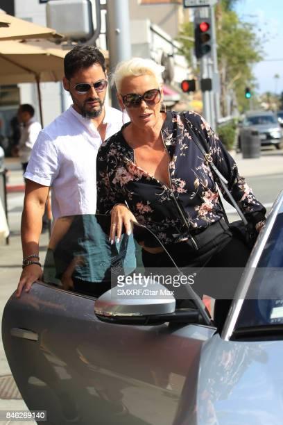 Brigitte Nielsen and Mattia Dessi are seen on September 12 2017 in Los Angeles California