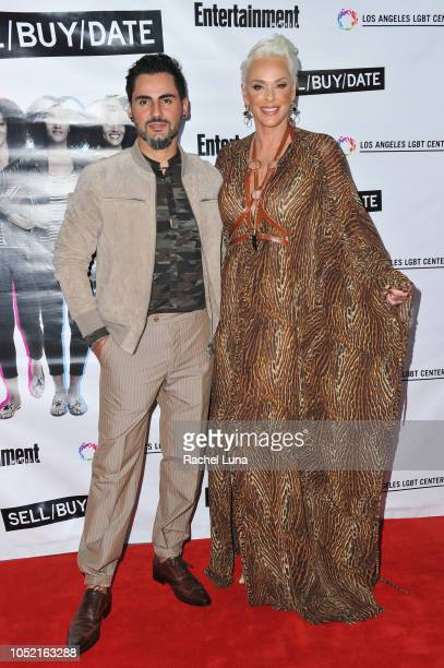 Brigitte Nielsen and Mattia Dessi arrive at opening night of 'Sell/Buy/Date' at the Los Angeles LGBT Center on October 14 2018 in Los Angeles...