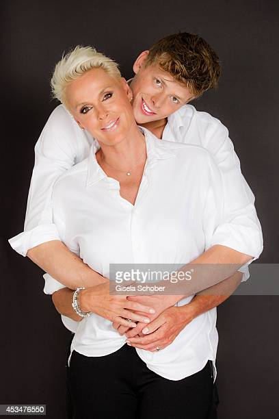Brigitte Nielsen and son Kilian Marcus Nielsen pose during a Portrait Session on July 6 2014 in MilanoItaly