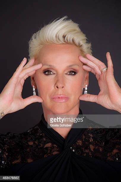 Brigitte Nielsen poses during a portrait session on July 6 2014 in Milan Italy