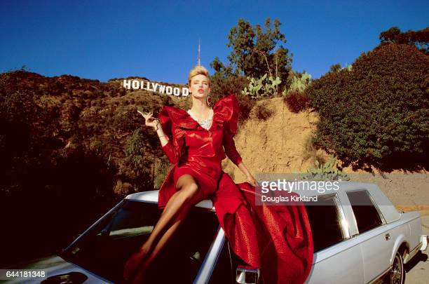 Brigitte Nielsen Posing Under Hollywood Sign