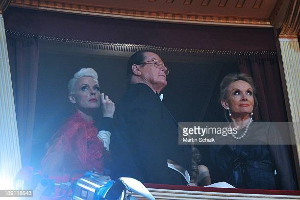 Brigitte Nielsen; Sir Roger Moore and wife Lady Kristina Tholstrup attend the traditional Vienna Opera Ball at the Vienna State Opera on February 16,...