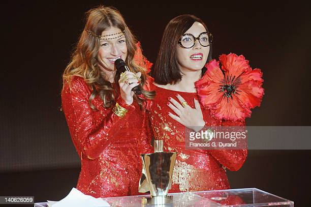 'Brigitte' singers Sylvie Hoarau and Aurelie Saada receive an award during 'Les Victoires de La Musique 2012' at Palais des Congres on March 3 2012...