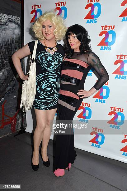 Brigitte Skrothum and Nina Queer attend the Tetu' Magazine 20th Anniversary Party at the YoYo Club on June 6 2015 in Paris France