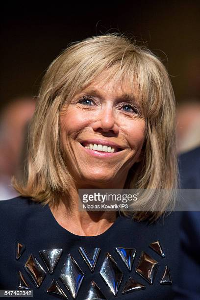 Brigitte Trogneux accompanies her husband Emmanuel Macron French Minister of Economy holding the first meeting of his political movement titled 'En...