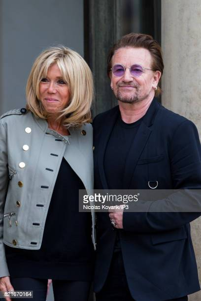 Brigitte Trogneux Emmanuel Macron's wife welcomes Bono singer of U2 and cofounder of the NGO One as he arrives to meet French President at the Elysee...