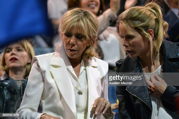 Brigitte Trogneux the wife of Emmanuel Macron French Presidential Candidate and her daughter Tiphaine Auziere attend Emmanuel Macron political...
