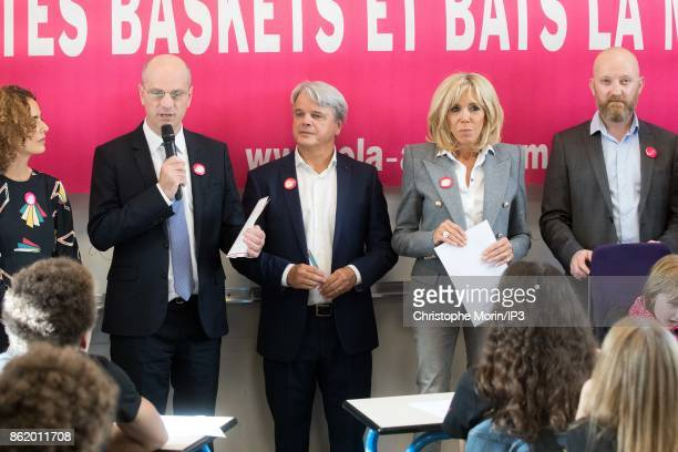 Brigitte Trogneux wife of French President Emmanuel Macron and French Minister of Education Jean Michel Blanquer participate to the reading of an...