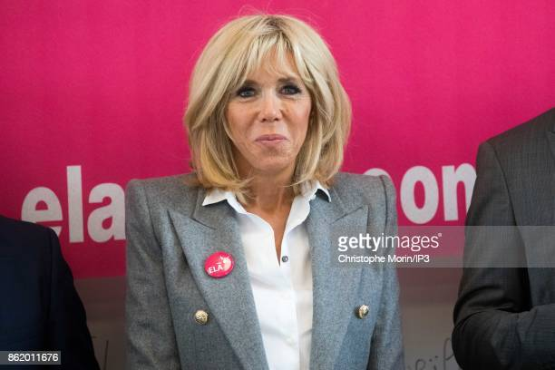 Brigitte Trogneux wife of French President Emmanuel Macron participates in the reading of an unpublished text written by Leila Slimani a famous...
