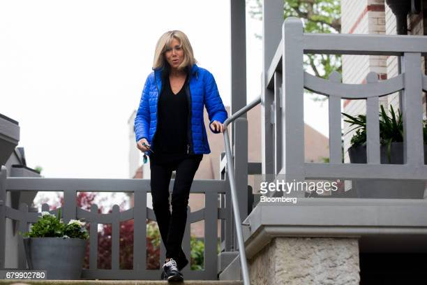 Brigitte Trogneux, wife of French presidential candidate Emmanuel Macron, leaves her house ahead of tomorrow's French presidential election final, in...