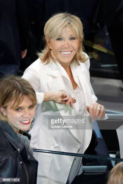 Brigitte TrogneuxMacron Emmanuel Macron's wife attends French presidential candidate Emmanuel Macron campaign rally at Bercy Arena on April 17 2017...