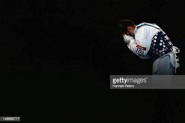 Brigitte Yague Enrique of Spain celebrates after beating Chanatip Sonkham of Thailand during the Women 49kg semirfinal Taekwondo match on Day 12 of...