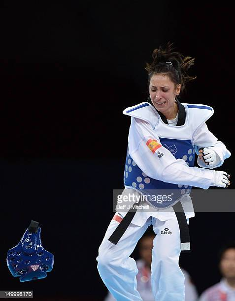 Brigitte Yague Enrique of Spain reacts after beating Chanatip Sonkham of Thailand in the womens 49kg semifinal Taekwondo match on Day 12 of the...