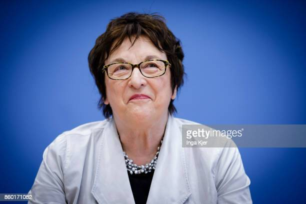 Brigitte Zypries German Minister for Economics and Energy is pictured in a press conference on October 11 2017 in Berlin Germany