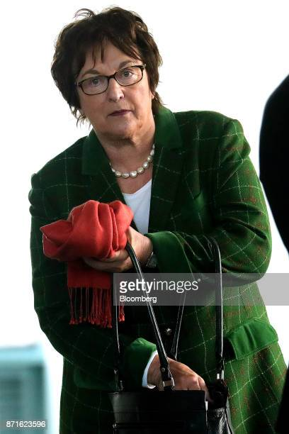 Brigitte Zypries Germany's economy and energy minister attends the financial growth forecast presentation news conference at the Chancellery in...