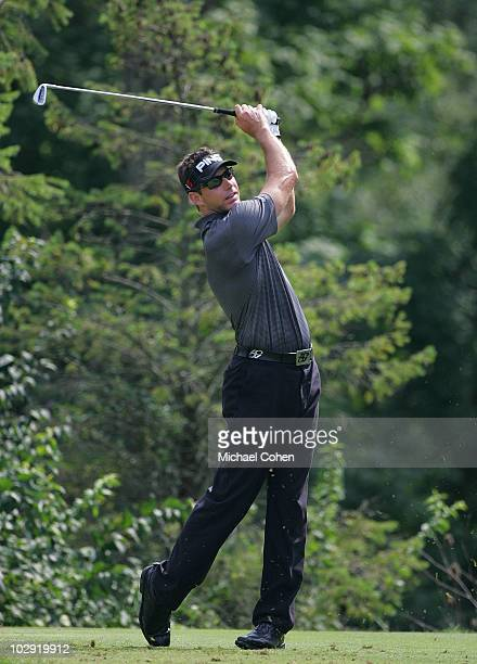 J Brigman hits a shot during the first round of the Chiquita Classic held at TPC River's Bend on July 15 2010 in Cincinnati Ohio