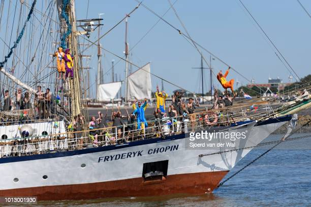 Brigrigged sailingship Fryderyk Chopin from Poland entering the port of Harlingen during the finish of the 2018 Tall Ship Race on August 3 2018 in...