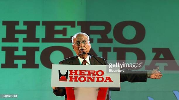 Brijmohan Lall Munjal chairman of Hero Honda Motors Ltd speaks at the opening of the company's new plant in Haridwar India on Tuesday April 8 2008...